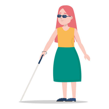 Young blind girl walking with a cane vector isolated. Female character in sunglasses with stick. Concept of people with disabilities. Impaired child