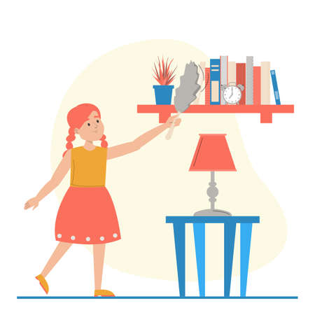 Girl wiping dust from the shelf vector isolated. Housework concept. Domestic routine, child cleaning room. Иллюстрация