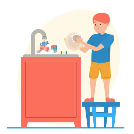 Boy washing dishes vector isolated. Everyday routine, housework. Hygiene at the kitchen. Child cleaning plates using sponge.