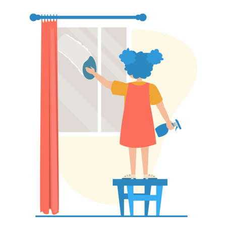 Girl cleaning the window vector isolated. Child doing domestic routine. Washing glass window with sponge. Иллюстрация