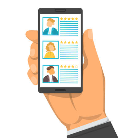 Hand holding smartphone with list of candidates in the screen vector isolated. Recruitment concept, searching for an employee online. Professional choice. Иллюстрация