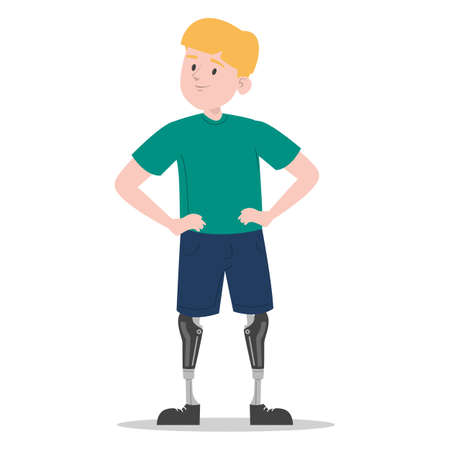 Happy young boy with prosthetic legs vector isolated. Illustration of a child wearing a prosthesis. Handicapped person, kid with artificial limbs.