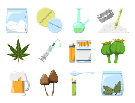 Set of drugs vector isolated. Concept of adiction and danger for health. Cocaine, tablet, syringe and marijuana. Narcotic collection. Иллюстрация
