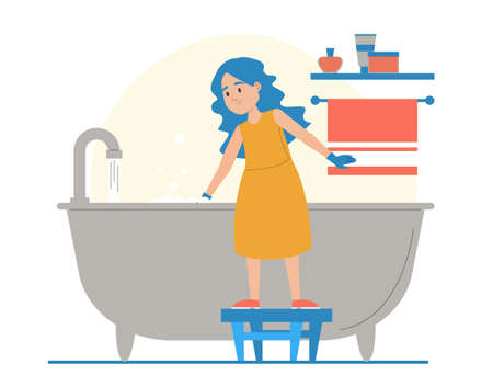 Girl cleaning bathtub vector isolated. Everyday domestic routine, kid in gloves washing bath using sponge. House chores. Иллюстрация
