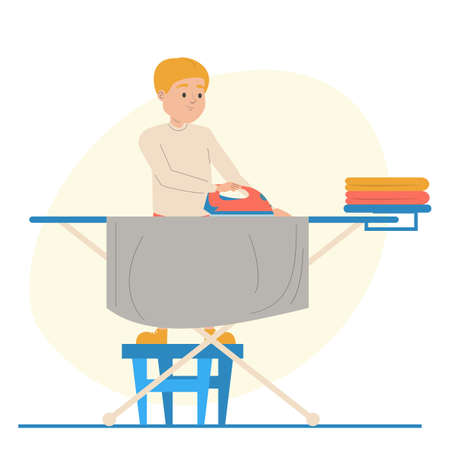 Boy ironing clean clothes vector isolated. Illustration of kid character doing domestic routine. Child holding iron. Иллюстрация