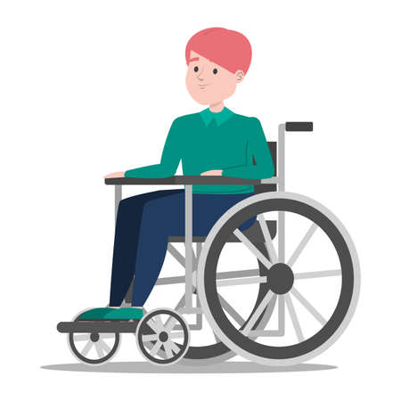 Disabled boy in the wheelchair vector isolated. Handicapped person, little child. Problem with health. Kid with disability. Иллюстрация