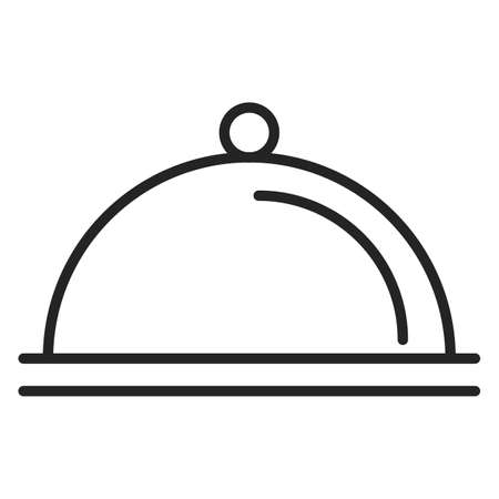 Dish line icon vector isolated. Plate in the restaurant. Food cover. Menu symbol. Иллюстрация