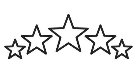 Five stars icons vector isolated. Symbol of success. Line art style, rating and evaluation. Иллюстрация