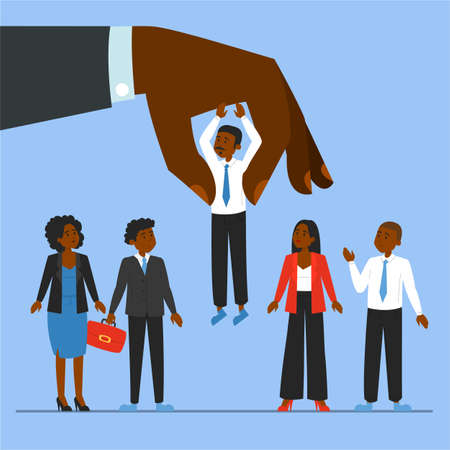 Giant hand choosing candidate for a job vector illustration. Idea of recruitment and human resources. Happy employee. Group of african american people