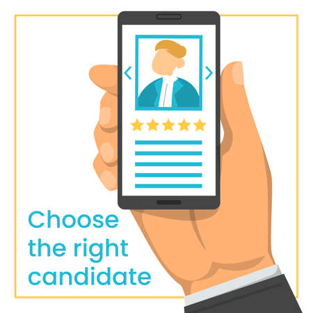 Hand holding smartphone with candidate CV in the screen vector isolated. Recruitment concept, searching for an employee online. Professional choice.