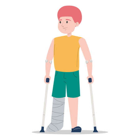 Little boy on crutches with a broken leg in gypsum vector isolated. Injured child. Disabled person standing.