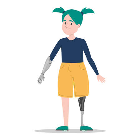 Happy young girl with prosthetic leg and arm vector isolated. Illustration of a child wearing a prosthesis. Handicapped person, kid with artificial limbs.