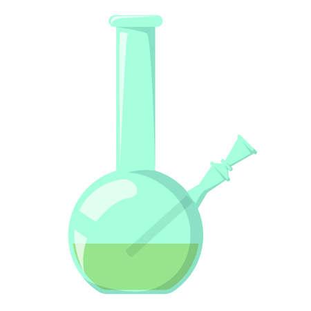 Glass bong vector isolated. Tool for smoking weed, marijuana. Bad addiction concept.