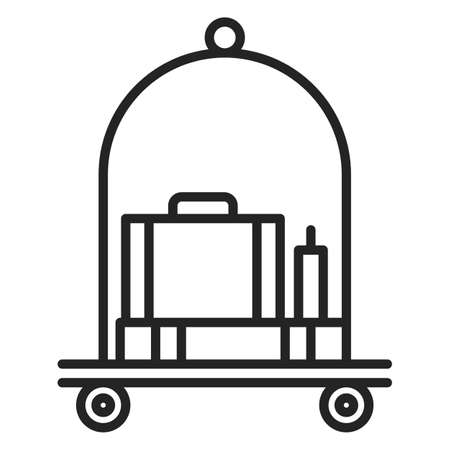 Baggage on trolley vector isolated. Symbol of suitcase in line art style. Concept of travel and hotel.