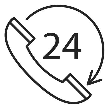 24 hours customer support icon vector isolated. Phone symbol, concept of service and assistance in any time. Иллюстрация