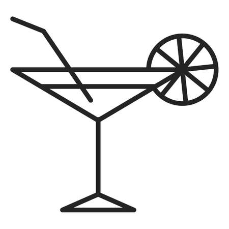 Cocktail icon vector isolated. Symbol of alcohol drink in bar. Liquid in a glass, tropical fresh beverage.