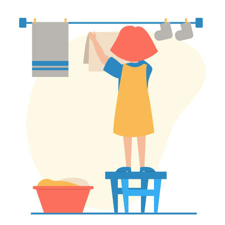 Kid hanging washed laundry vector isolated. Daily routine. Domestic chores, clean clothes on the clothesline