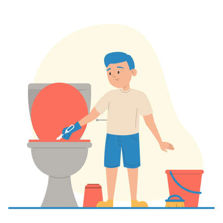Kid cleaning dirty toilet vector isolated. Hygiene in the house, daily routine. Boy in gloves washing bathroom. Иллюстрация