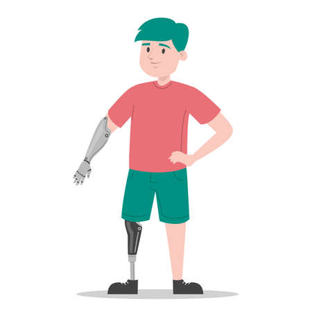 Happy young boy with prosthetic leg and arm vector isolated. Illustration of a child wearing a prosthesis. Handicapped person, kid with artificial limbs.