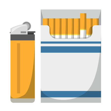 Full cigarette pack and lighter vector isolated. Bad addiction, tobacco and nicotine product. Smoking kills, unhealthy lifestyle. Gas lighter.