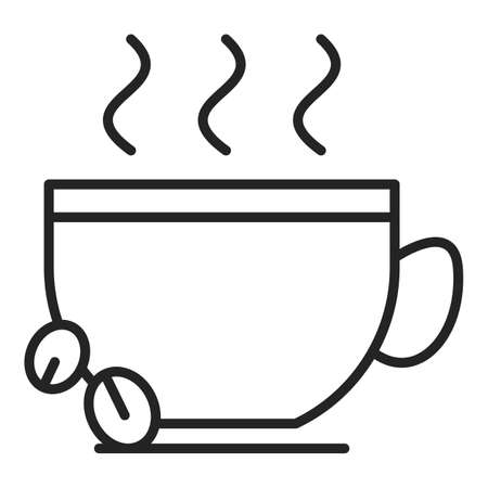 Coffee cup icon vector isolated. Cup of a hot tasty beverage, cappuccino for breakfast. Coffee beans.