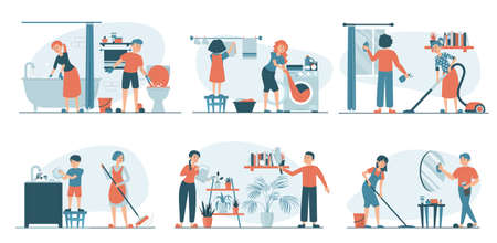 Housework set vector isolated. Collection of families doing house work. Vacuum cleaning, clothes ironing, cooking, wiping dust. Men, women and children doing chores together. Иллюстрация