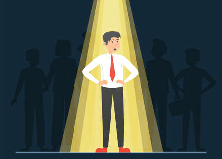 Light shining on the right candidate for a job, recruitment concept. Select worker for your team. Crowd of people standing behind.