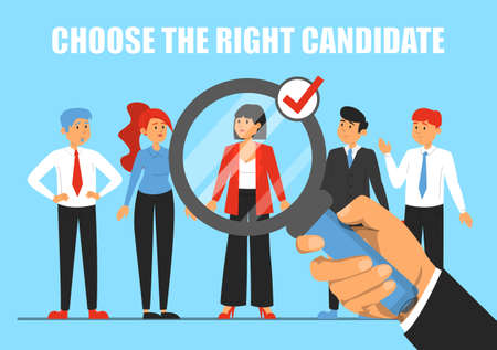 Giant hand with magnifying glass choosing candidate for a job vector illustration. Idea of recruitment and human resources. Happy employee. Group of people Иллюстрация