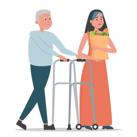 Young woman helps old man vector isolated. Idea of volunteering and support. Grandfather walking with mobility trolley and girl helps to carry food bag.
