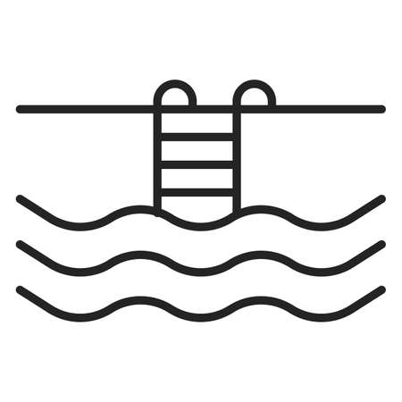 Swimming pool icon vector isolated. Concept of tourism and hotel services. Simple line pictogram of pool. Иллюстрация