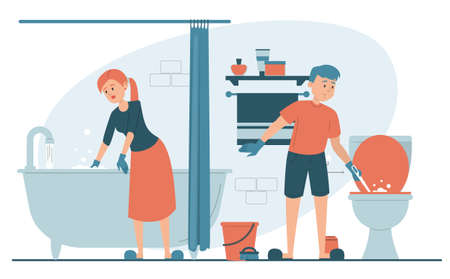 Woman cleaning bathtub and man washing toilet. Everyday domestic routine, housewife in gloves, washing bath using sponge. Hygiene in the house, daily routine. Family daily routine.