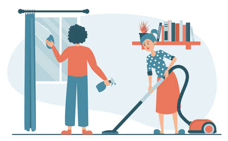 Woman vacuum cleaning the floor at home and man washing window vector isolated. Housewife cleaning carpet. Daily routine, domestic work. Male character wiping glass using cloth and spray.