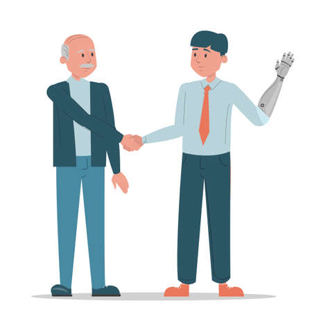 Handshake between two business persons vector isolated. Man with prosthetic arm and old man standing together. Successful disabled employee. Handicapped guy works at office.