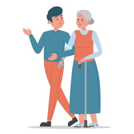 Old disabled woman walks with a young man vector isolated. Senior lady with prosthetic arm, elderly amputee. Grandmother walking with a stick. Handicapped person. Family, support and assistance. Иллюстрация