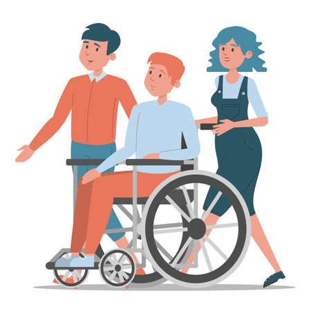 Friends walking together vector isolated. Young disabled guy in wheelchair spend time with his best friends. Impaired person, cheerful teenager. Иллюстрация