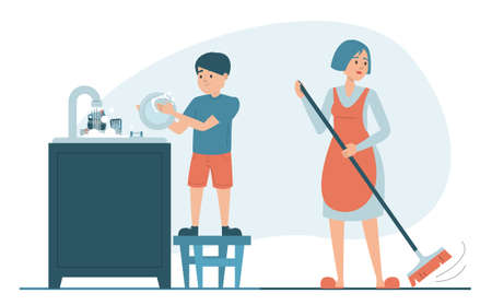 Mother and son cleaning kitchen vector isolated. Boy washing dishes vector isolated. Everyday routine, housework.Woman sweeping the floor using broom. Everyday routine.