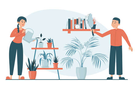 Woman watering plants and man wiping dust from the shelf vector isolated. Illustration of a family doing daily chores. Man wiping dust from the shelf. Housework concept. Domestic routine. Иллюстрация