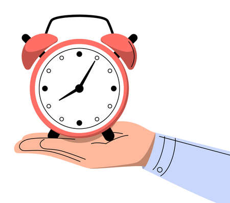 Hand holding alarm clock vector isolated. Idea of time management and deadline. Save your time. Businessman controls work progress. Иллюстрация