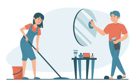 Housewife washing floor at home vector isolated. Illustration of a family doing domestic work. Man cleaning the mirror. Daily routine.