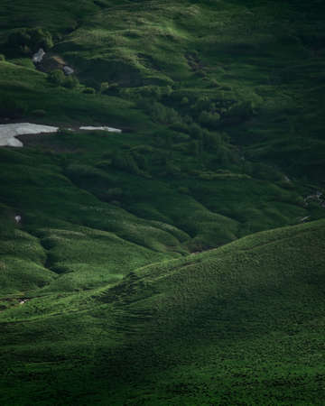 Green field on plateau. Peaceful meadows and footpaths, mystic atmosphere and foggy weather. Summer in mountains. Outdoor activities. Rural background.