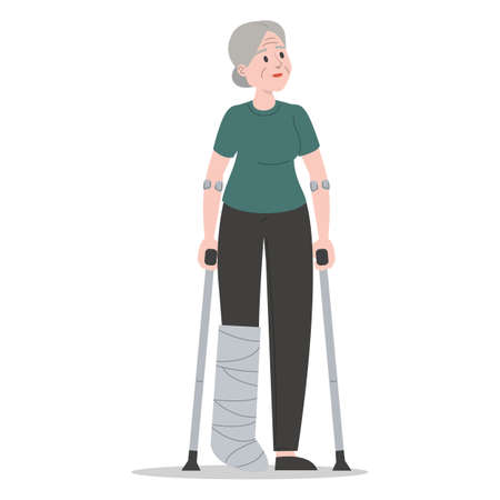 Old woman on crutches with a broken leg in gypsum vector isolated. Injured female character. Disabled senior person standing. Иллюстрация