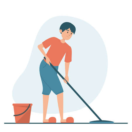 Man washing floor at home vector isolated. Illustration of a guy doing domestic work. Male character holding mop, red bucket with water standing near.