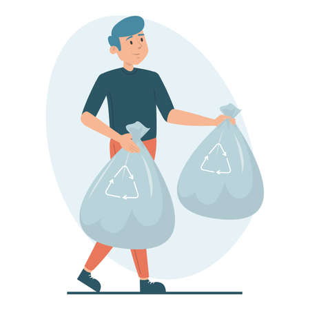 Man holding garbage bags vector isolated. Illustration of a guy taking trash out of home. Cleaning home, doing domestic work concept. Иллюстрация