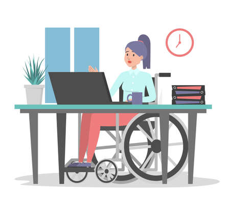 Woman in wheechair working in office, sitting at the desk vector isolated. Illustration of a disabled office worker. Handicapped employee at computer.