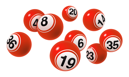 Vector Bingo  Lottery Red Number Balls Set Illustration