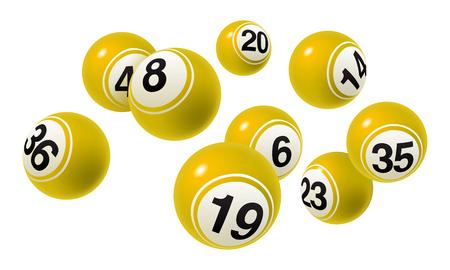 Vector Bingo, Lottery Yellow Number Balls Set Illustration