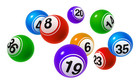 Vector Bingo, Lottery Colorful Number Balls Set