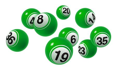 Bingo de vecteur, ensemble de boules de numéro vert de loterie