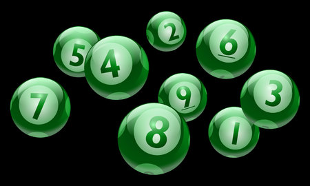 A vector bingo or lottery number 1 to 9 balls set.