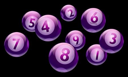 A vector bingo or lottery number 1 to 9 balls set. Ilustração